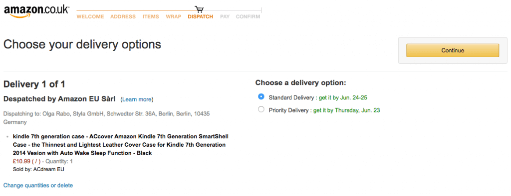 Amazon example of transparent delivery methods
