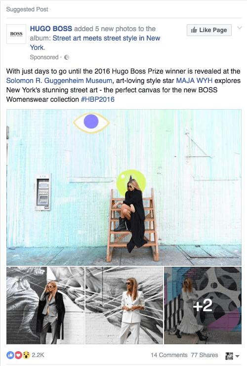 Hugo Boss Facebook Ad