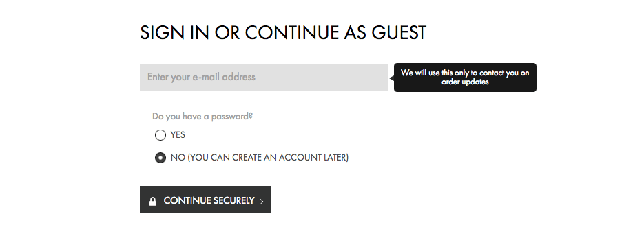 Calvin Klein enables guest checkout to reduce shopping cart abandonment rate.