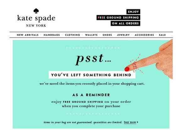 An example of a great abandonment email from Kate Spade.
