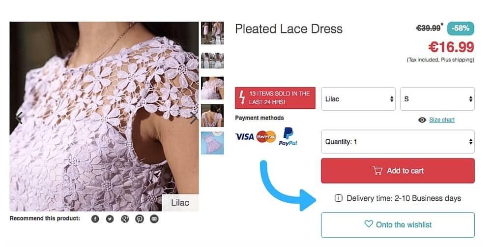 Lesara delivery option