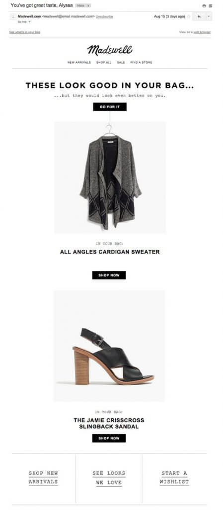 Madewell abandonment email