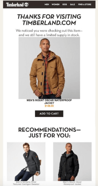 Browse email reminder from Timberland