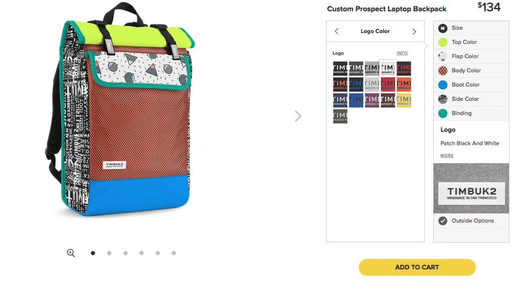 """Timbuk2, which makes """"tough as hell"""" messenger bags and backpacks, is a great example of what you could (and should) be doing: the pictures are dominating the whole screen, they're zoomable, high-quality, can be viewed from different angles, and they give you a precise understanding of how your backpack will look once you customise it."""